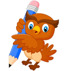 Cartoon owl holdings a pencil vector image