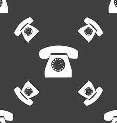 Retro telephone icon symbol seamless pattern on a vector