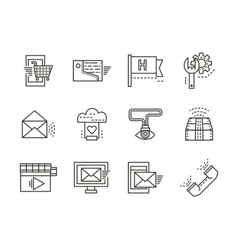 Online services simple line icons vector