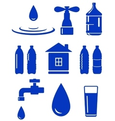Water set of icon with house faucet drop bottle vector