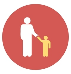 Father with son flat round icon vector