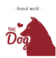 animal world the dog heart red dog background vect vector image