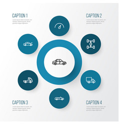 Automobile outline icons set collection of lorry vector
