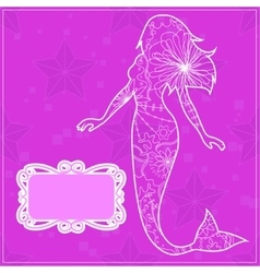 Background pink with a mermaid vector image vector image