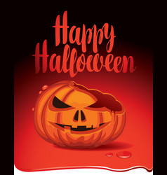 banner for halloween party with a broken pumpkin vector image vector image