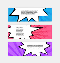 banner set with comic style design template pop vector image