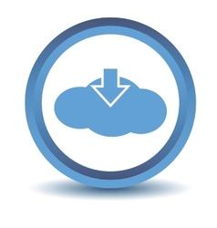 Blue download cloud icon vector
