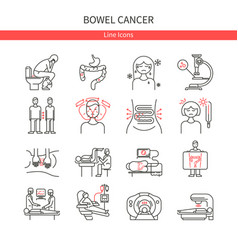 Bowel cancer linear icons vector
