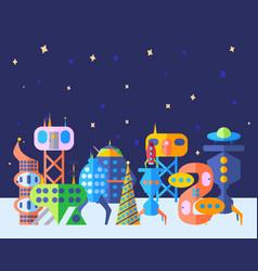 Bright extraterrestrial future city set in cartoon vector