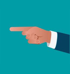 Business finger pointing on blue background vector