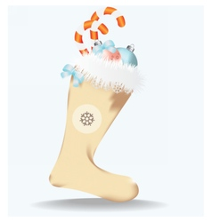 Christmas sock with toys vector