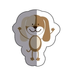 Color sticker with dog and middle shadow vector