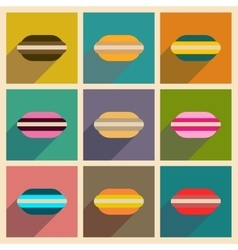Concept of flat icons with long shadow macaroon vector
