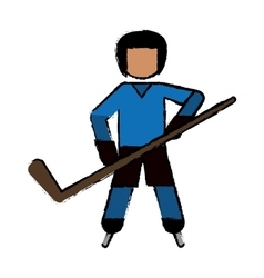 drawing character hockey player skating blue vector image