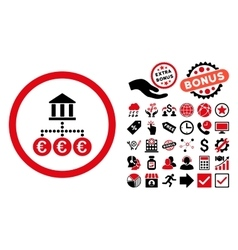 Euro Bank Transactions Flat Icon with Bonus vector image vector image