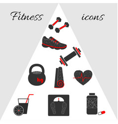 geometric fitness icons vector image vector image