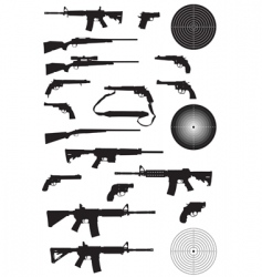 Gun silhouette collection vector