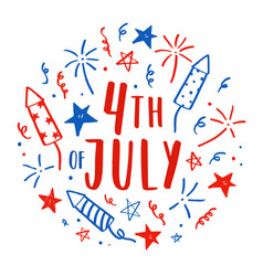 Hand drawn fourth of july doodles vector