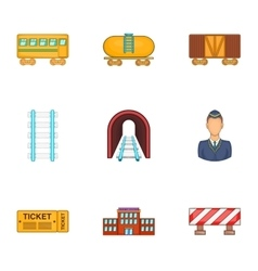 Iron way road icons set cartoon style vector