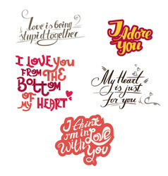 Lettering collection with quotes about love vector