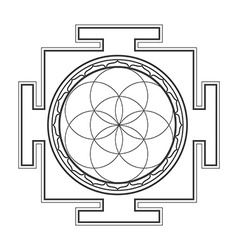 Monochrome outline seed of life yantra vector