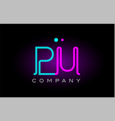 neon lights alphabet pu p u letter logo icon vector image vector image