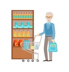 Old Man Grocery Shopping Shopping Mall And vector image