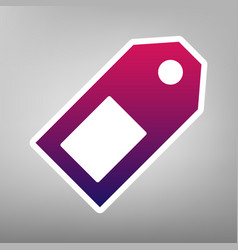 Price tag sign purple gradient icon on vector