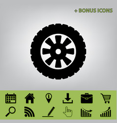 Road tire sign black icon at gray vector