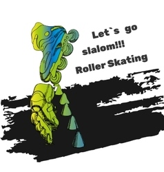 Set for roller skates with text isolated logo vector
