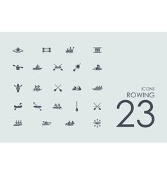 Set of rowing icons vector