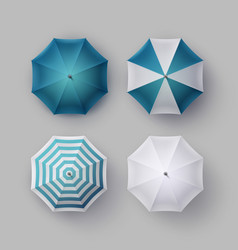 Set of white blue striped opened rain umbrella vector