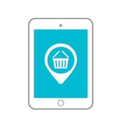 tablet in shopping basket icon vector image