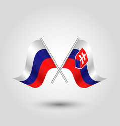 Two crossed russian and slovak flags vector