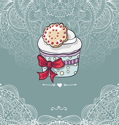 Vintage invitation card with a cupcake vector