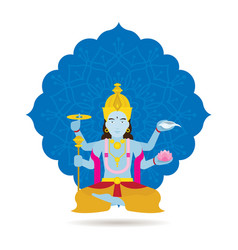 Vishnu hindu god or deity vector