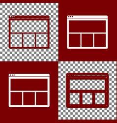 Web window sign bordo and white icons and vector