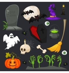 Halloween fashion flat icons isolated on vector image