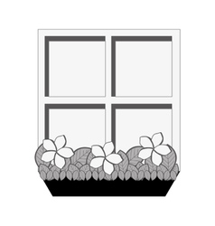 Window with flowers icon image vector
