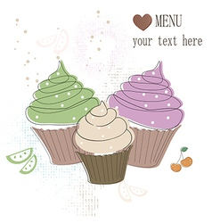 Cupcakes card vector image