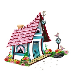 Fairytale house with pink roof vector