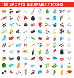 100 sports equipment icons set isometric 3d style vector image