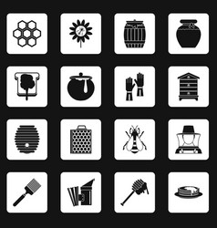 Apiary tools icons set squares vector