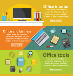 Office tools banner horizontal set flat style vector