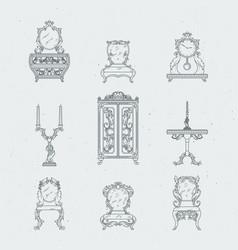 home antique furniture chairs dresser bedside vector image