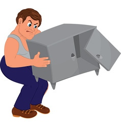 Cartoon man in blue pants and gray top holding vector