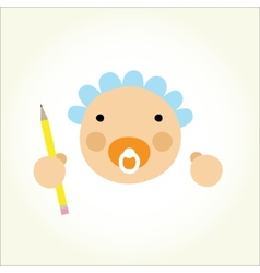 Cartoon baby beginner artist vector