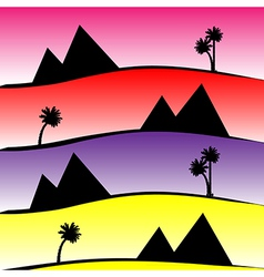 Pattern with pyramids and palms vector
