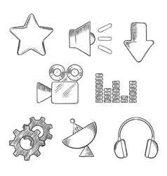 Media and sound sketched icons set vector