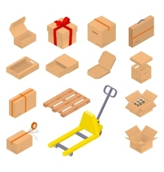 Collection of isometric cardboard boxes vector